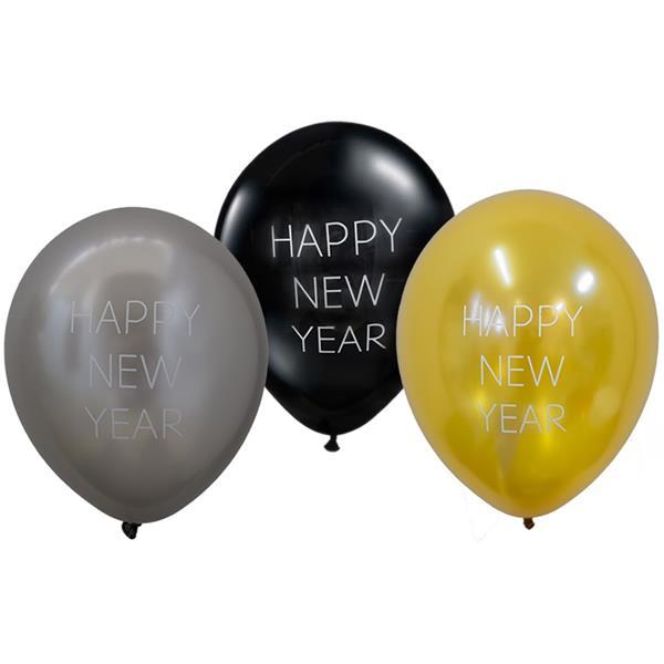 Balão Happy New Year Látex, 30 cm