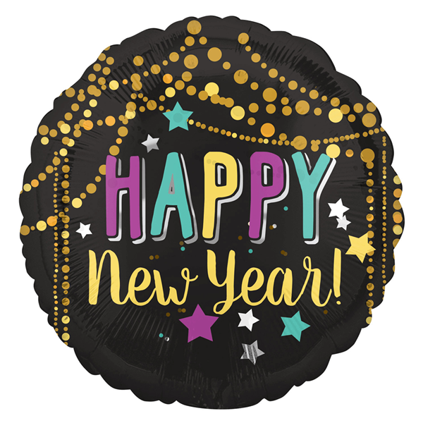 Balão Happy New Year Estrelas Foil, 43 Cm