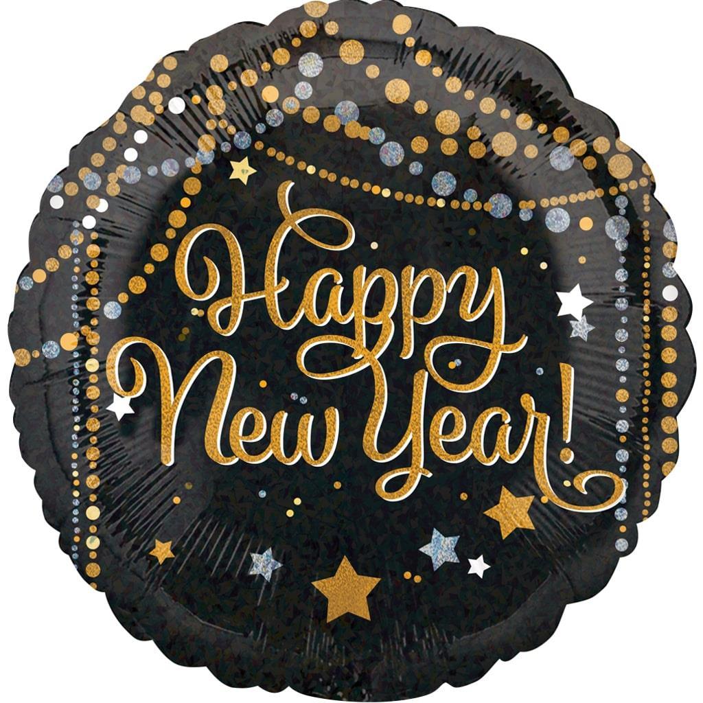 Balão Happy New Year Sparkle Foil, 45 cm