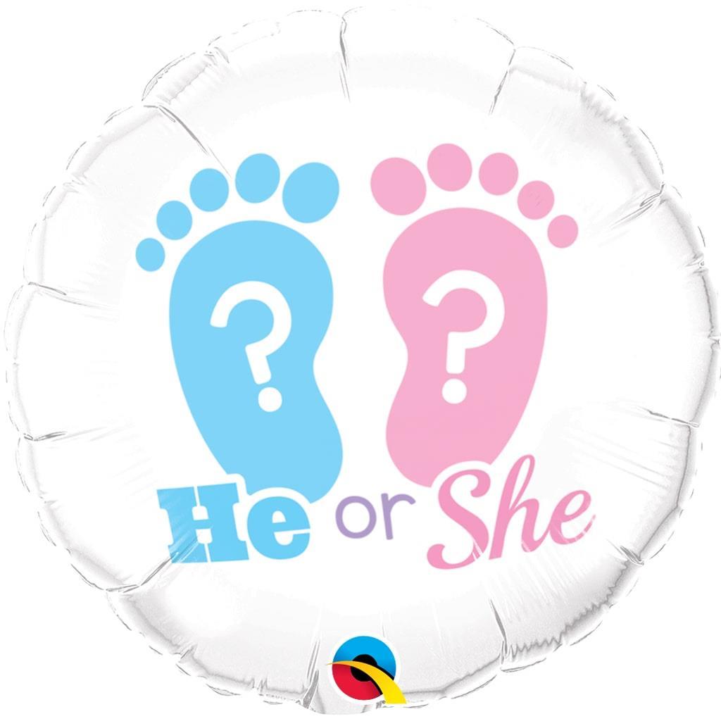 Balão He or She Branco Foil, 46 cm