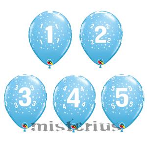 Balão Latex Azul com Números e Estrelas