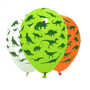 Balão Látex Colorido Dinossauros, 6 un
