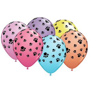 Balão Látex Colorido Patinhas, 6 un