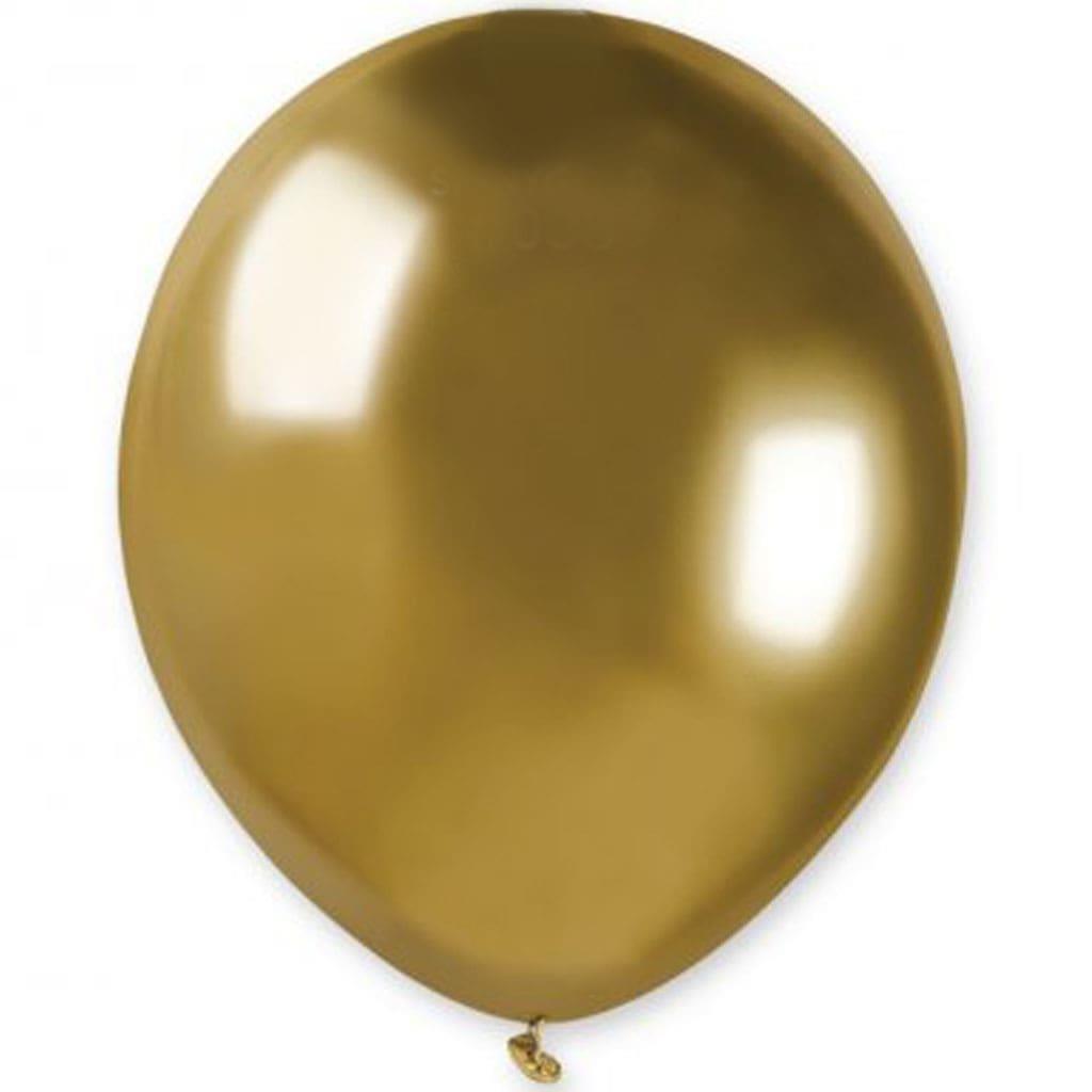 Balão Látex Dourado Cromado, 13 cm