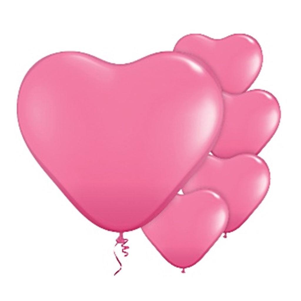 Balão Latex em Forma Coração Rosa