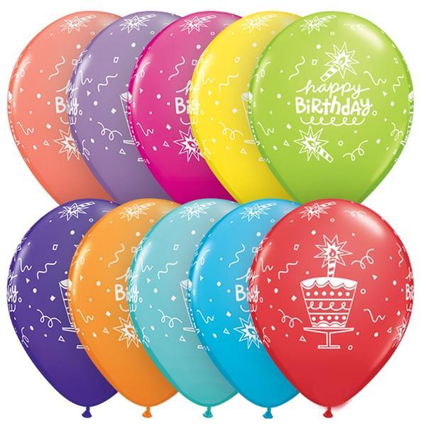 Balões Latex Happy Birthday, 6 Unid.