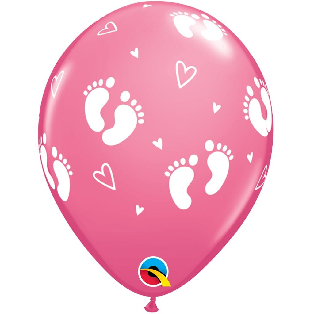 Balão Latex Pézinhos Rosa, 6 Unid.