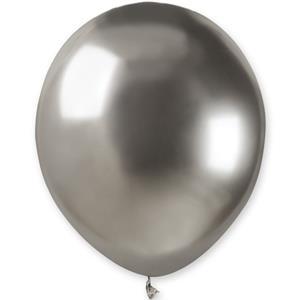 Balão Látex Prateado Cromado, 13 cm