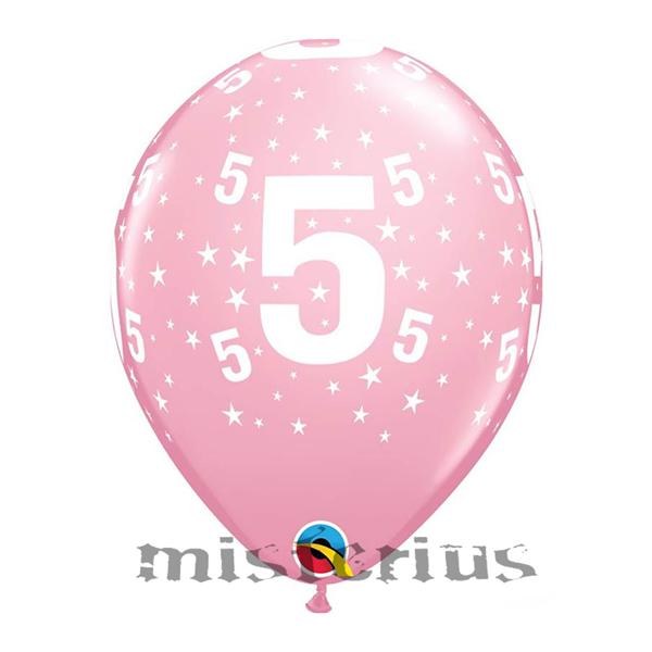 Balão Latex Rosa com Números e Estrelas