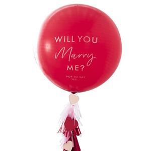 Balão Latex Vermelho Will You Marry Me, 36 Cm