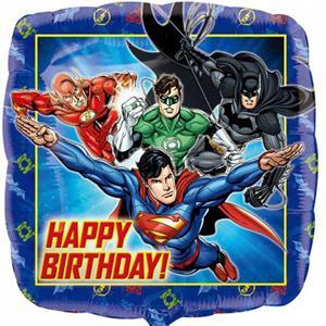 Balão Liga da Justiça Happy Birthday Foil, 43 cm