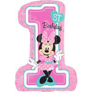 Balão Minnie Mouse 1º Aniversário Foil, 71 cm