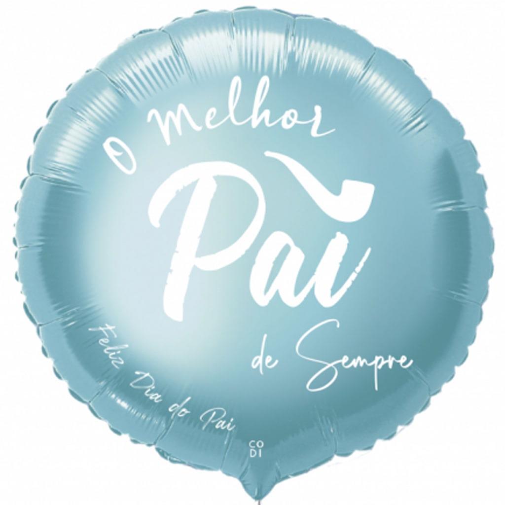 Balão O Melhor Pai de Sempre Azul Claro Foil, 45 cm