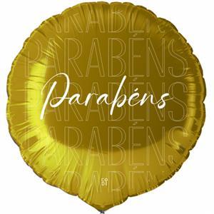 Balão Parabéns Dourado Foil, 45 cm