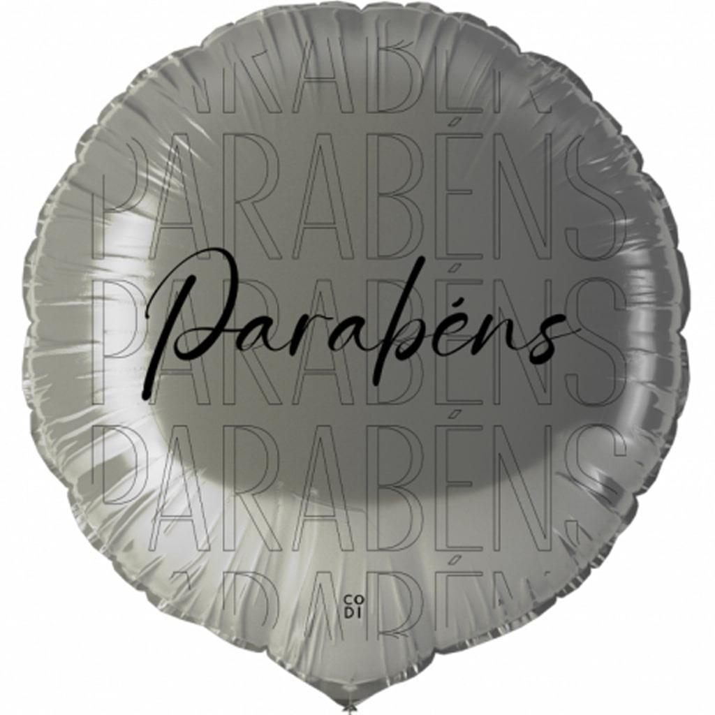 Balão Parabéns Prateado Foil, 45 cm
