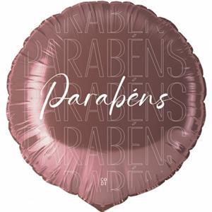 Balão Parabéns Rosa Gold Foil, 45 cm