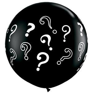 Balão Preto com Pontos de Interrogação