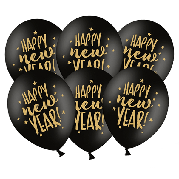 Balão Preto Látex Happy New Year, 6 Unid.