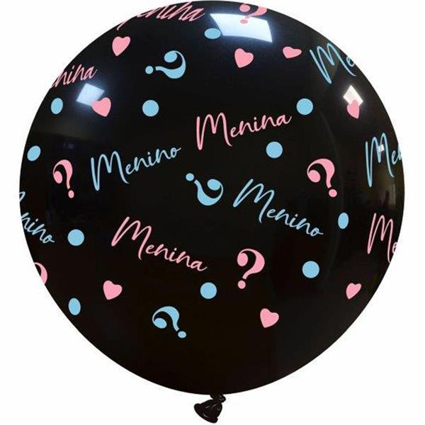 Balão Preto Menino ou Menina, 80 cm