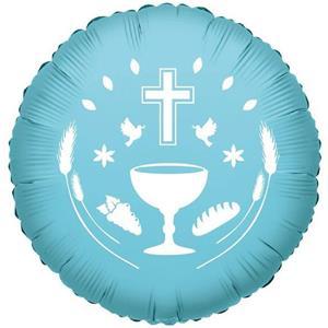 Balão Primeira Comunhão Azul Foil, 45 cm