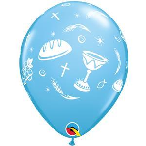 Balão Primeira Comunhão Azul Látex, 30 cm