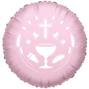 Balão Primeira Comunhão Rosa Foil, 45 cm