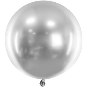 Balão Redondo Cromado Prateado, 60 cm