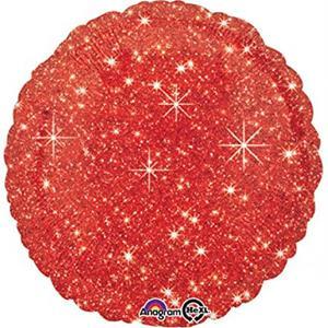 Balão Redondo Vermelho Sparkle Foil, 40 cm