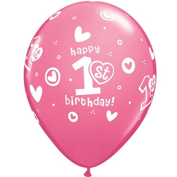 Balão Rosa 1º Aniversário Látex, 30 cm
