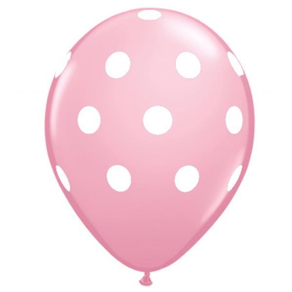 Balão Rosa Claro Bolinhas, 6 Unid.