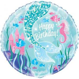 Balão Sereia Happy Birthday Foil, 45 cm