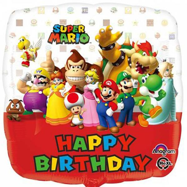 Balão Super Mario Happy Birthday Foil, 43 cm