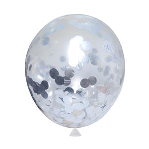Balão Transparente com Confetis Prateados, 45 cm
