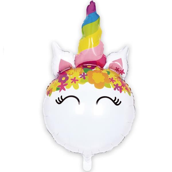 Balão Unicórnio com Chifre Colorido Foil, 86 cm