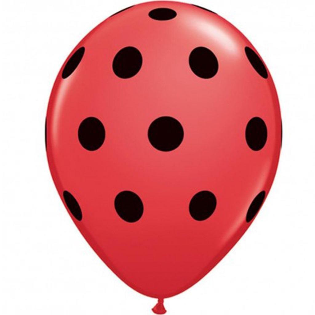 Balão Vermelho Bolinhas Pretas, 6 un