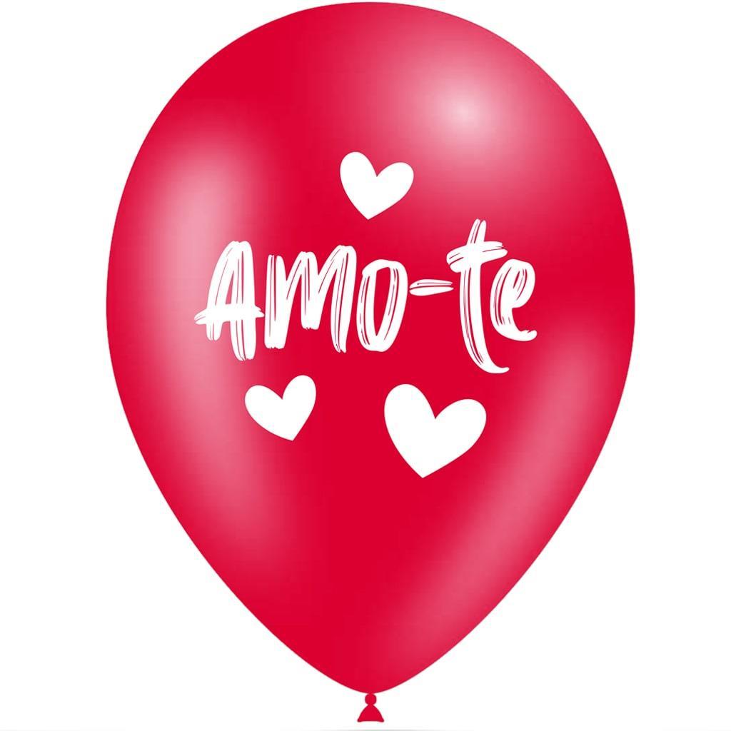 Balões Amo-te Vermelho Látex, 5 unid.