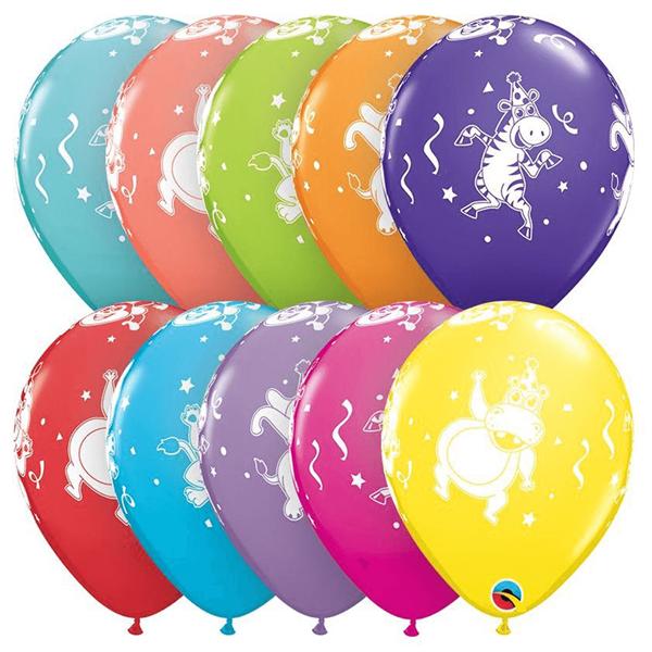 Balões Animais da Selva Multicor em Látex, 6 Unid.