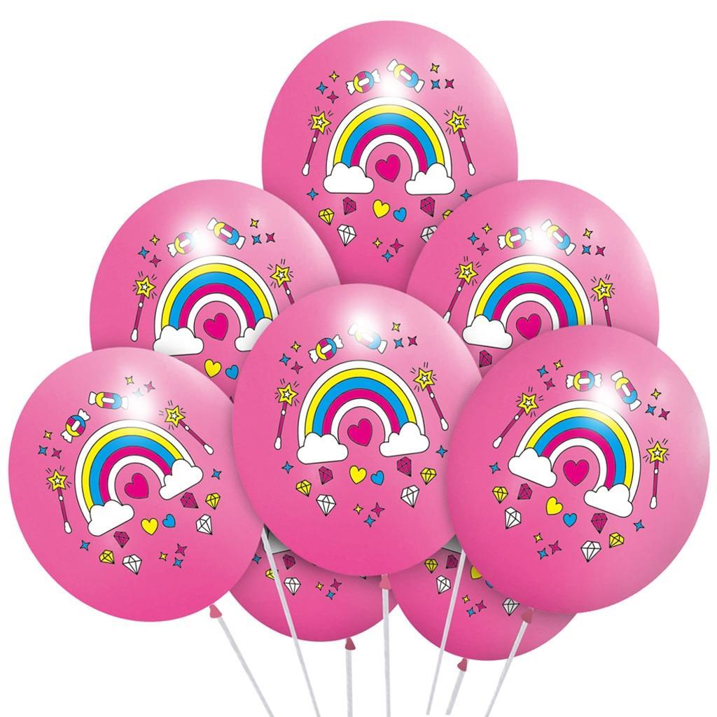 Balões Arco Íris e Fantasia Rosa Látex, 5 unid.