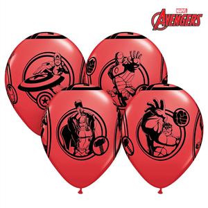 Balões Avengers Vermelhos em Látex, 6 Unid.