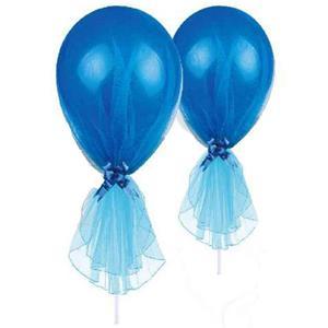 Balões Azuis em Látex com Tule