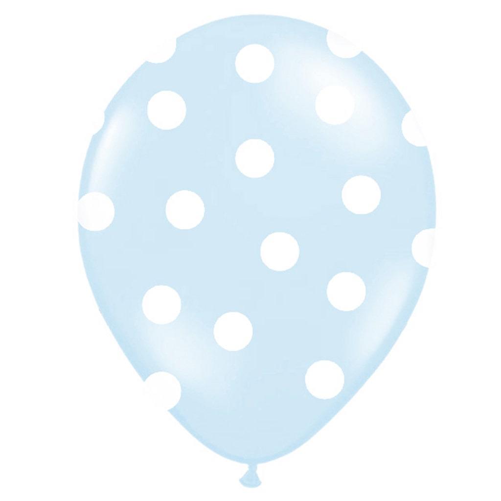 Balões Azul Claro Bolinhas, 6 Unid.