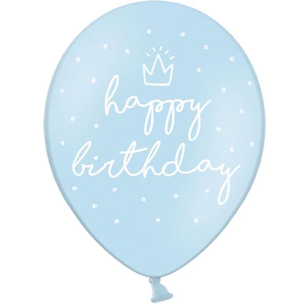 Balões Azul Happy Birthday Látex, 6 unid.