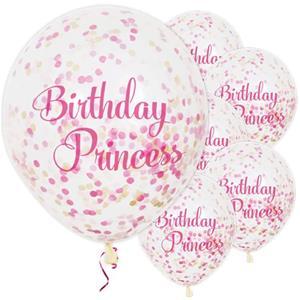 Balões Birthday Princess com Confetis Látex, 6 unid.