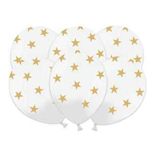 Balões Brancos Estrelas, 6 unid.