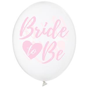 Balões Bride To Be Transparentes Látex, 6 unid.