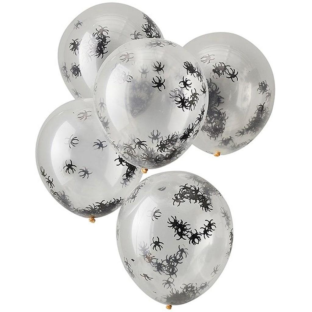 Balões com Confetis Aranhas Látex, 5 unid.