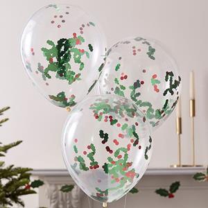 Balões com Confetis Azevinhos, 5 unid.