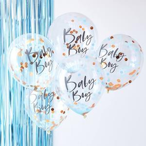 Balões com Confetis Baby Boy Látex, 5 unid.