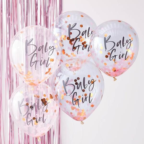 Balões com Confetis Baby Girl Látex, 5 unid.