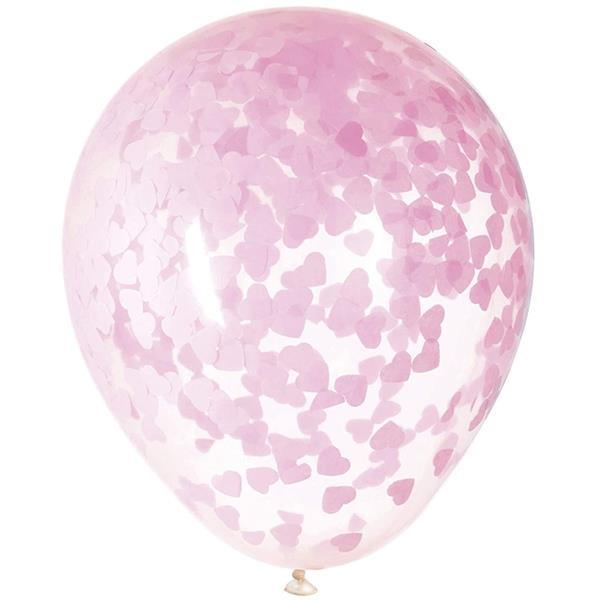 Balões com Confetis Corações Rosa, 5 unid.